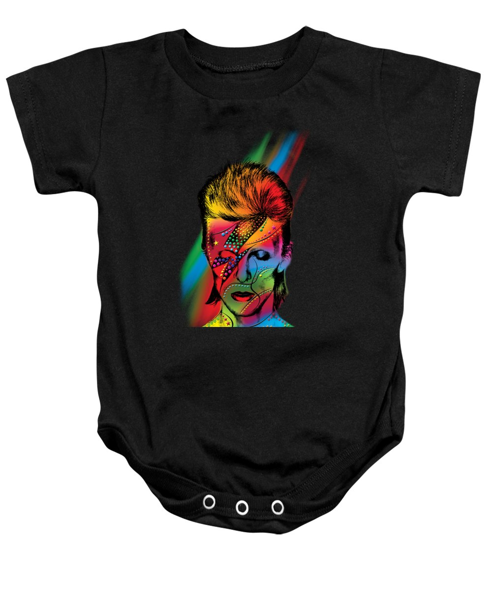 David Bowie Baby Onesie featuring the painting David Bowie by Mark Ashkenazi