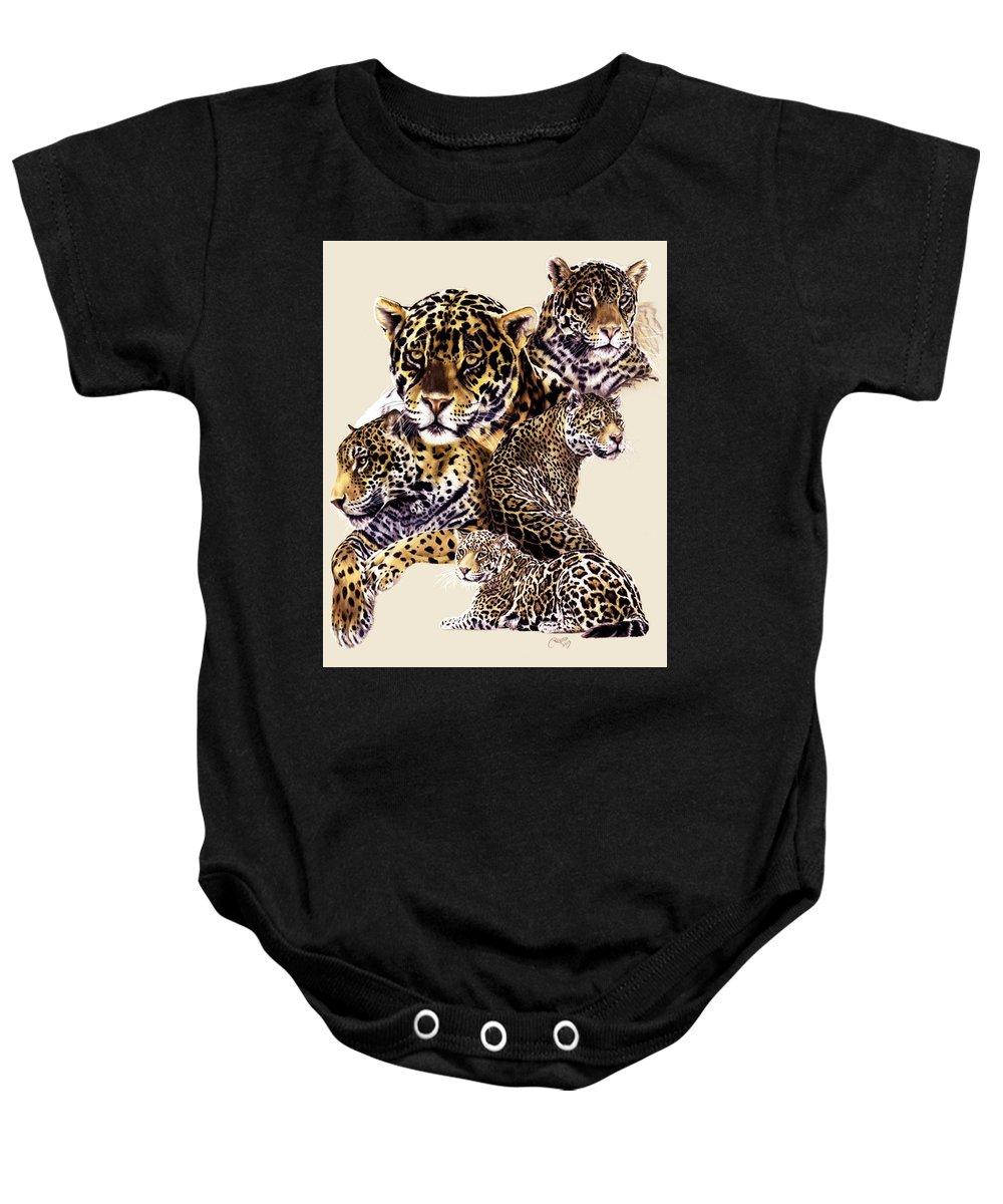 Jaguar Baby Onesie featuring the drawing Burn by Barbara Keith