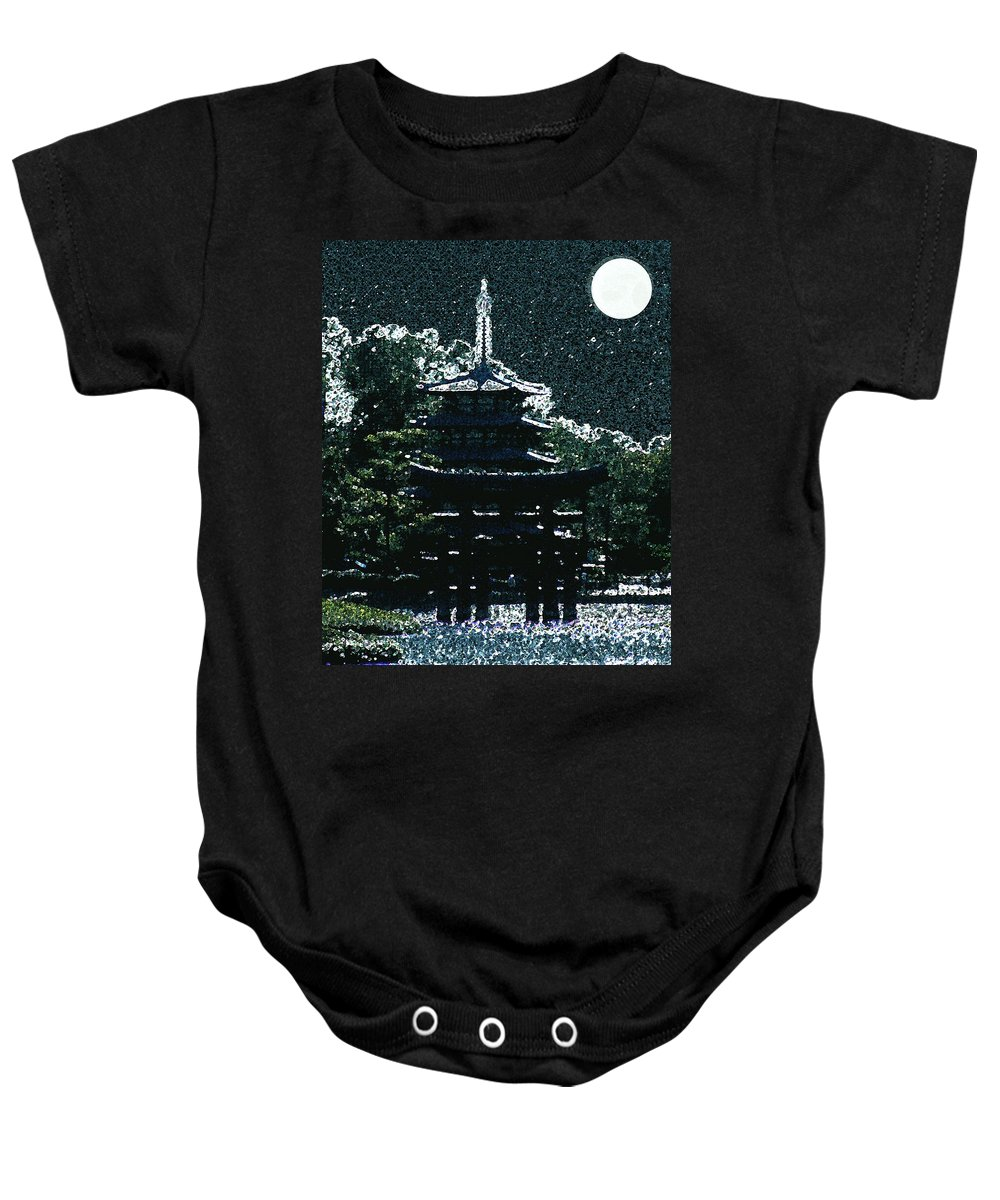 Full Moon Baby Onesie featuring the mixed media Asian Moon by Shirley Heyn