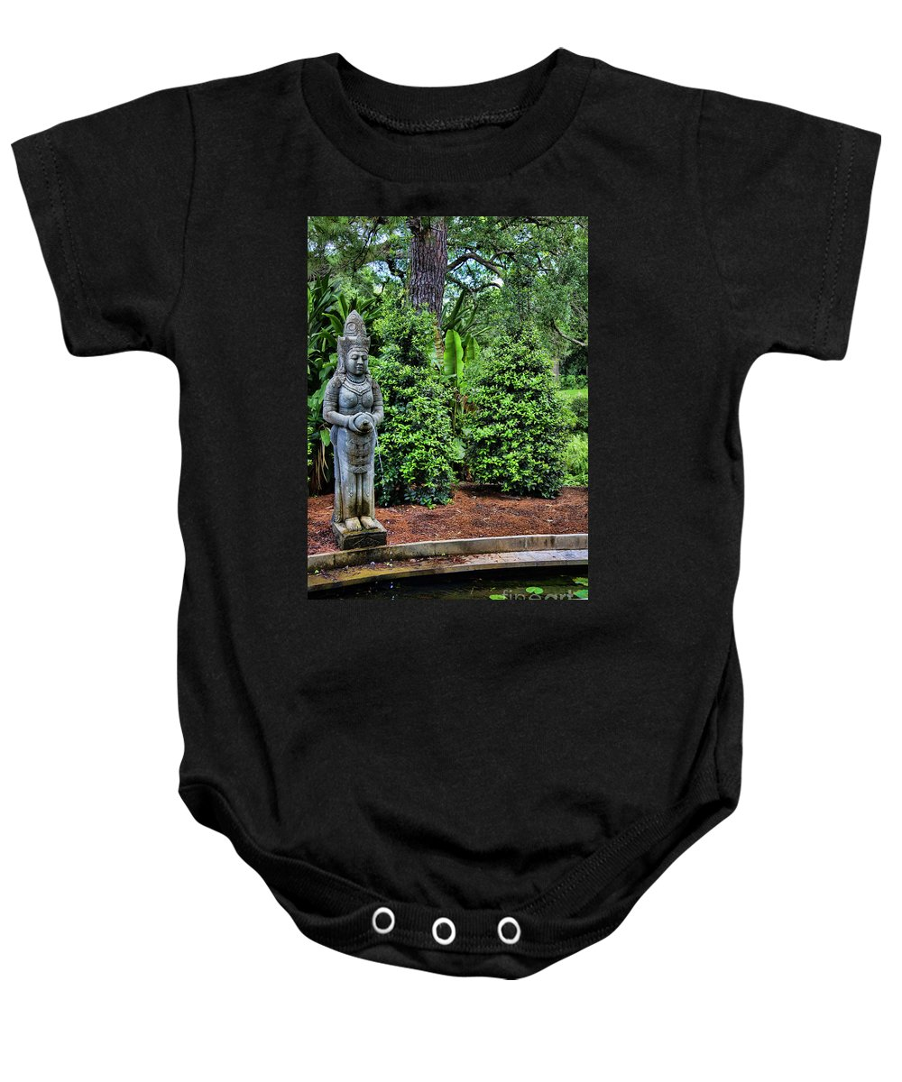 Landscape Baby Onesie featuring the photograph Asian Statue Jefferson Island by Chuck Kuhn