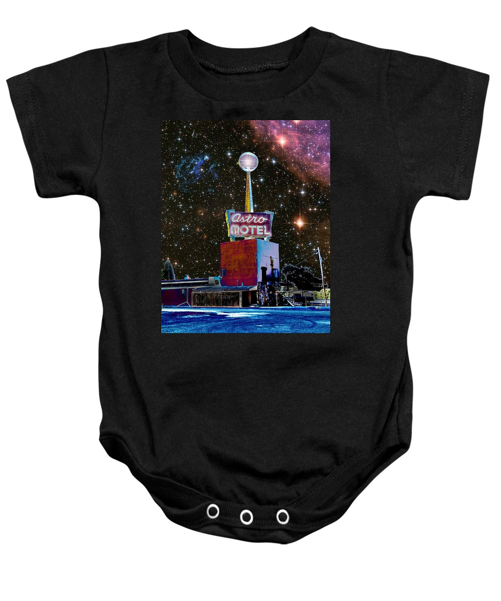 Astro Baby Onesie featuring the photograph Astro Motel by Jim And Emily Bush