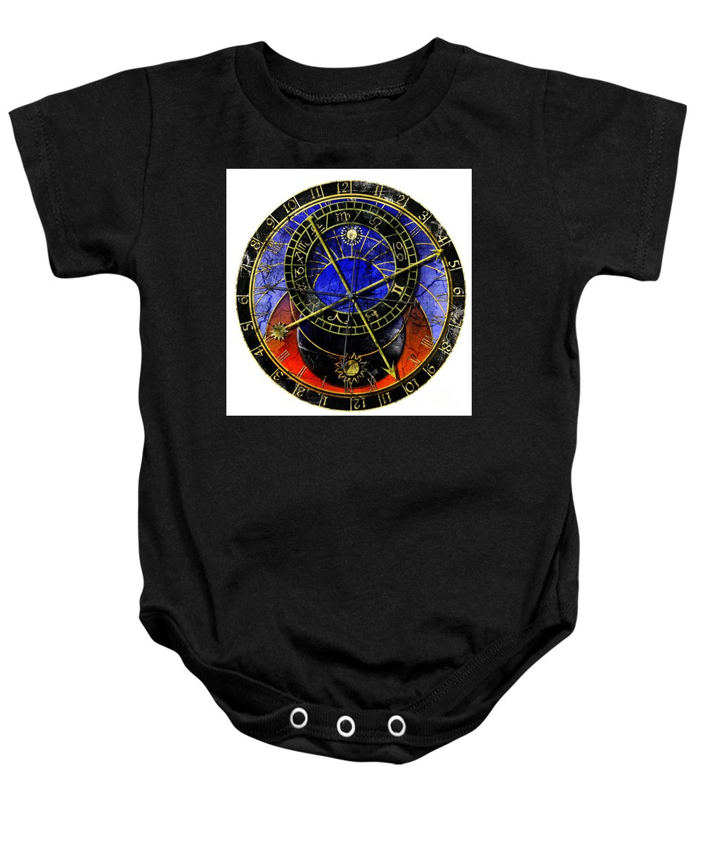 Grunge Baby Onesie featuring the digital art Astronomical Clock In Grunge Style by Michal Boubin