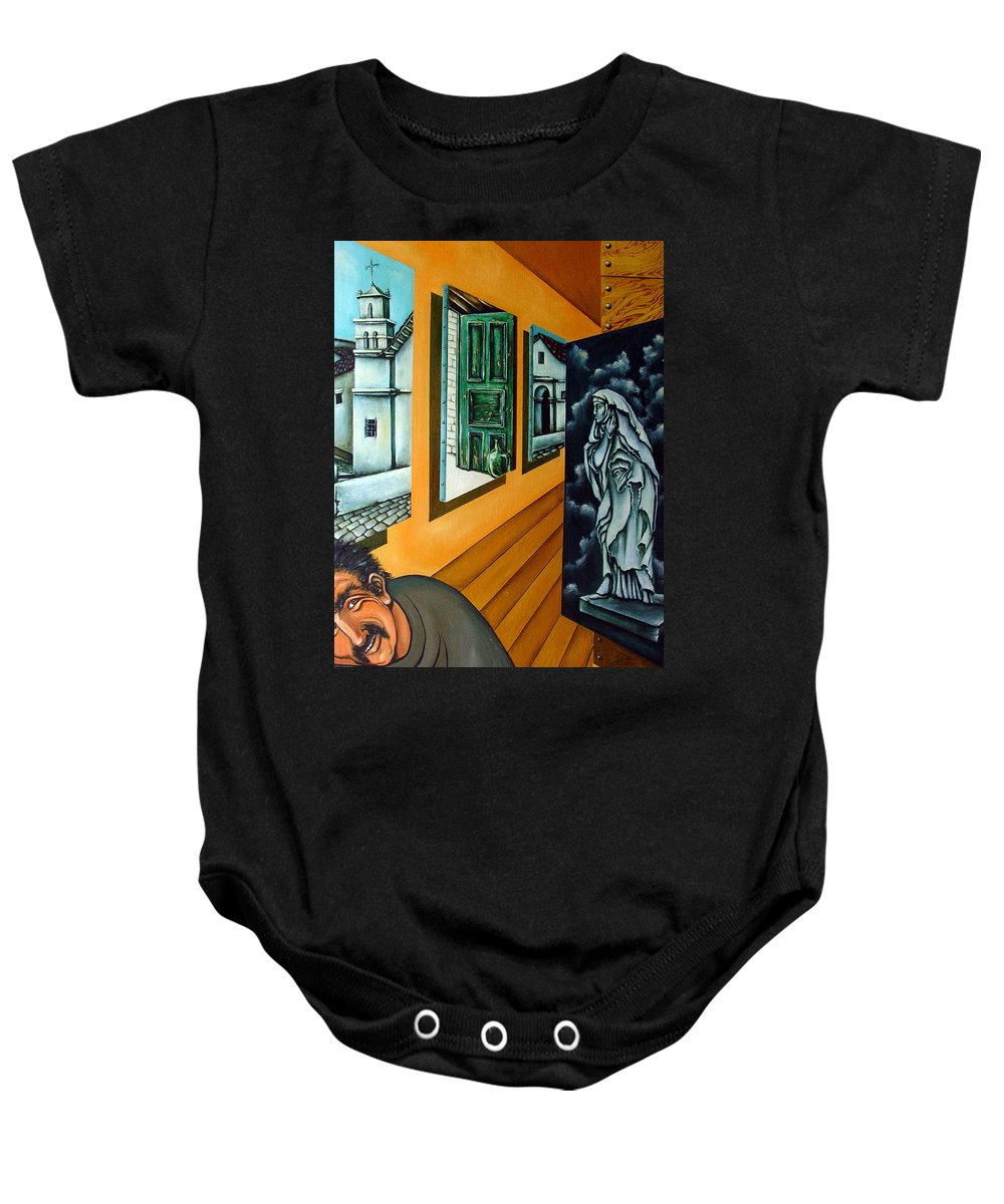 Surreal Baby Onesie featuring the painting Asylum by Valerie Vescovi