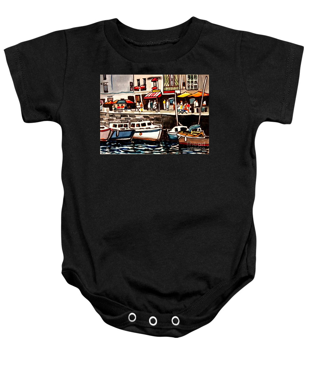 Cafe Baby Onesie featuring the painting At The Cafe by Elizabeth Robinette Tyndall