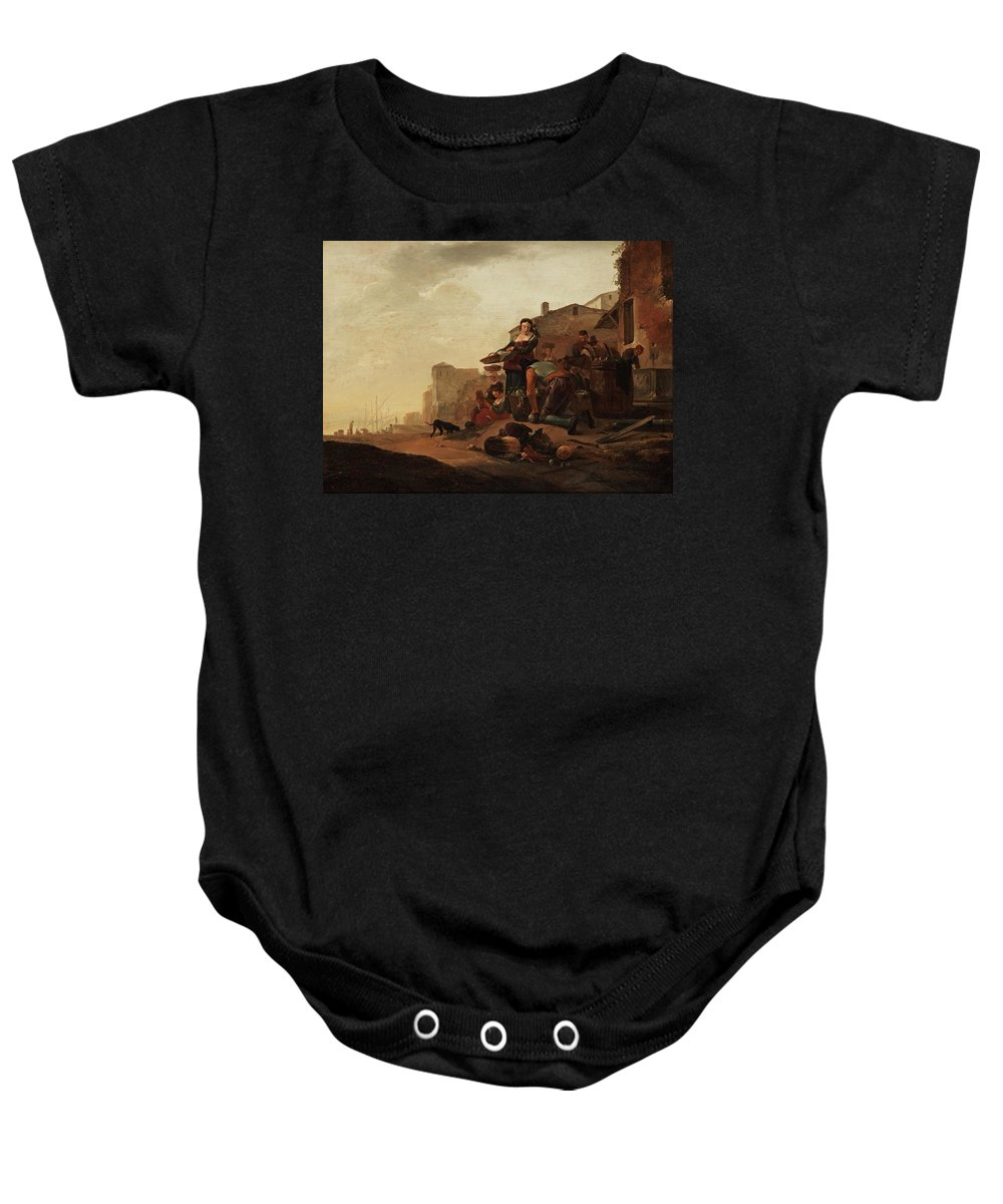 Thomas Wyck Attributed To Baby Onesie featuring the painting At The Market by Thomas Wyck
