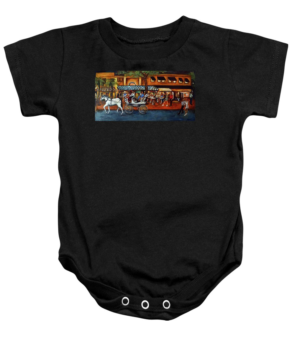 Horse & Buggy Baby Onesie featuring the painting Atlantic Avenue by Valerie Vescovi