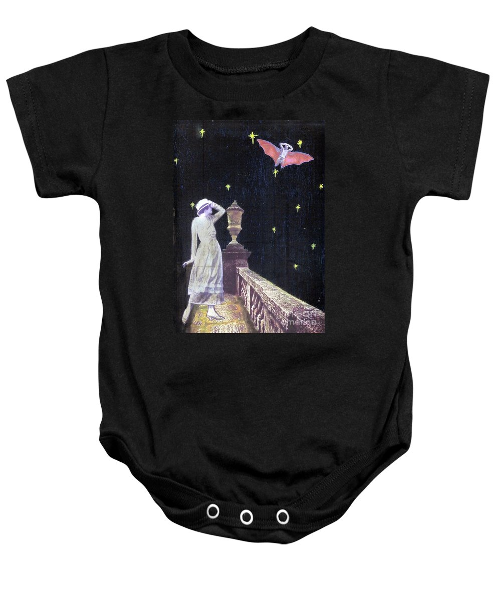 Batman Baby Onesie featuring the mixed media Attempted Pick Up by Desiree Paquette
