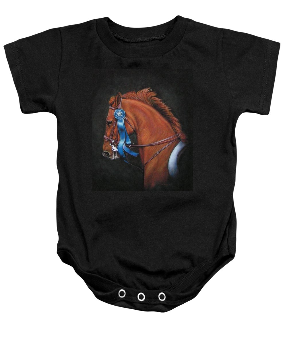 Horse Baby Onesie featuring the painting Attitude by Yvonne Hazelton