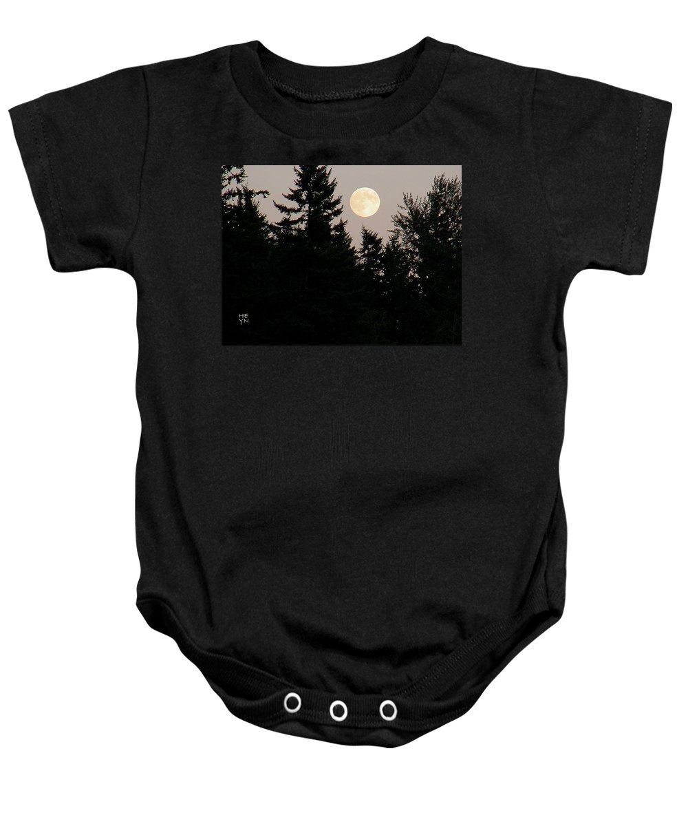 August Baby Onesie featuring the photograph August Full Moon - 1 by Shirley Heyn