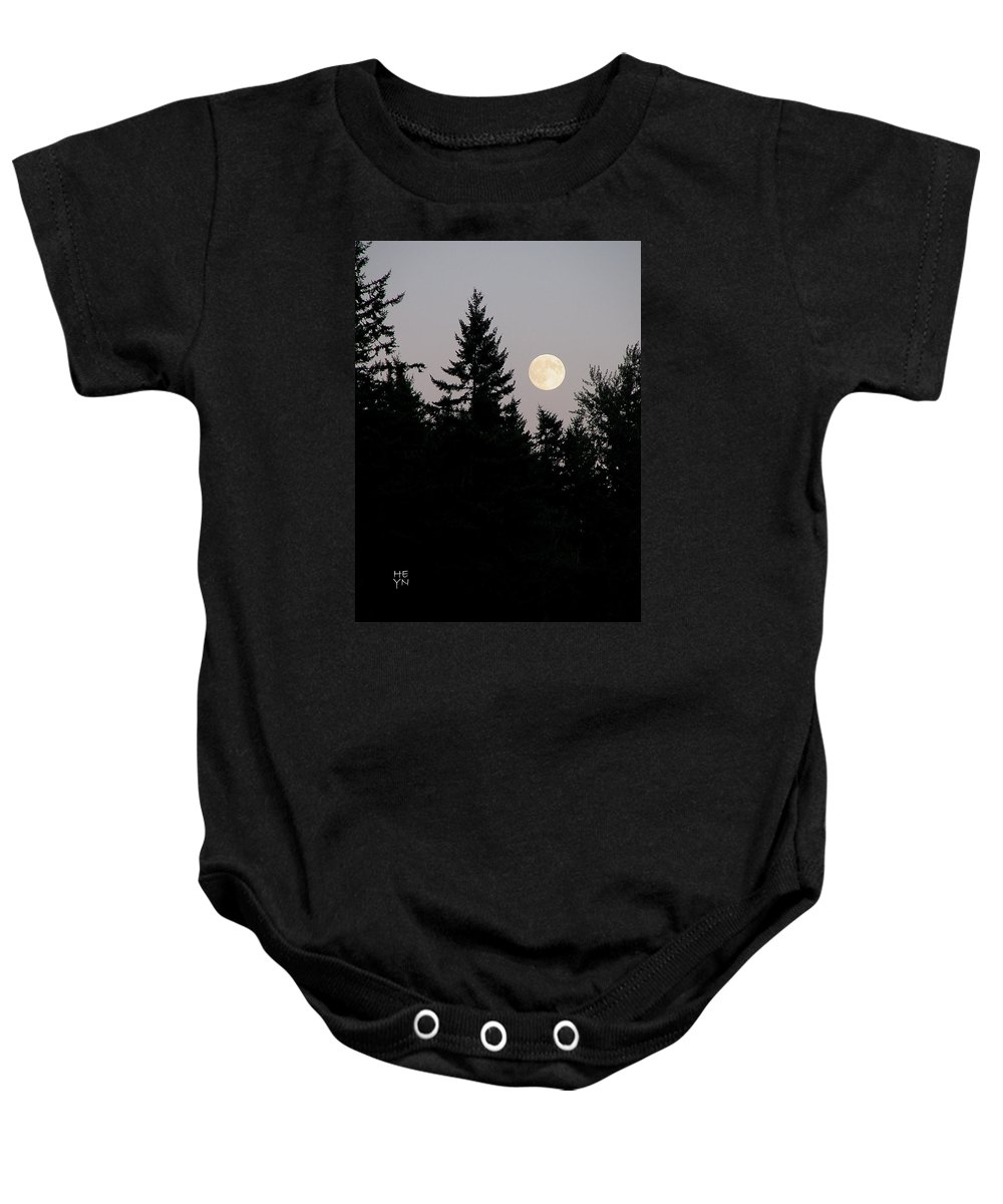 August Baby Onesie featuring the photograph August Full Moon - 2 by Shirley Heyn