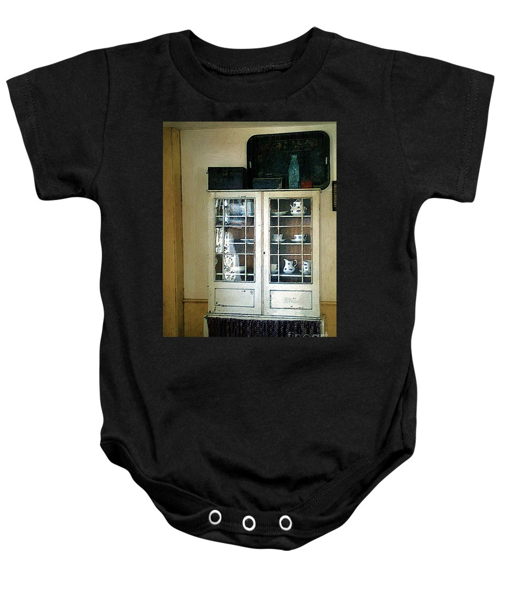 Room Baby Onesie featuring the painting Aunt Mae's China Closet by RC DeWinter