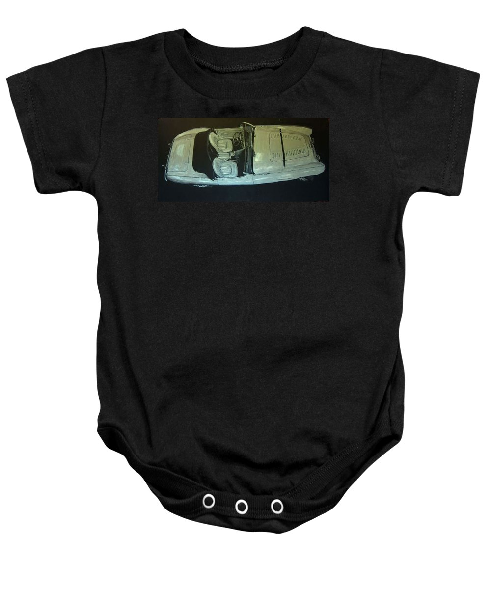 Car Baby Onesie featuring the painting Austin Healy Lm by Richard Le Page