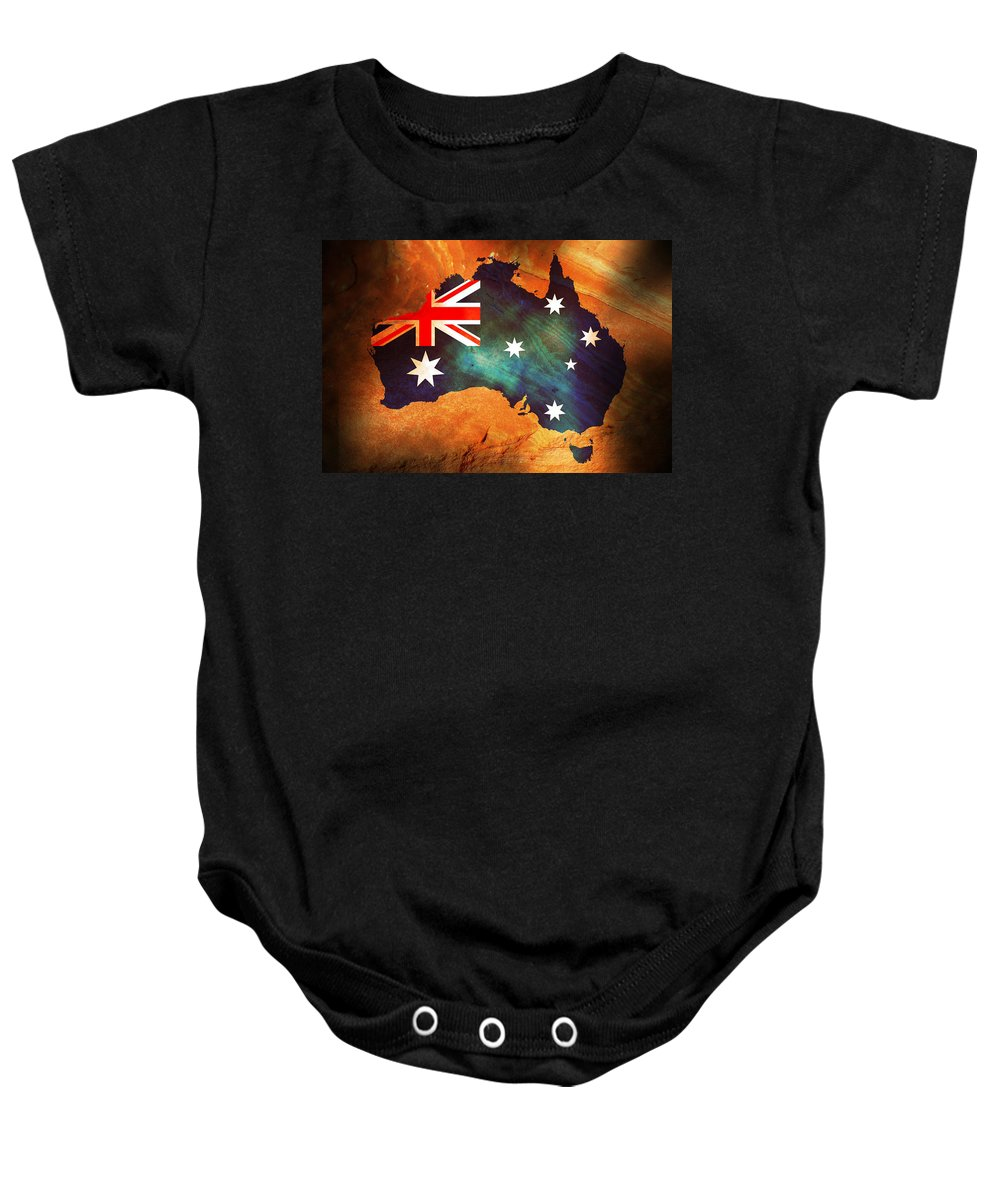 Australia Baby Onesie featuring the photograph Australian Flag On Rock by Phill Petrovic