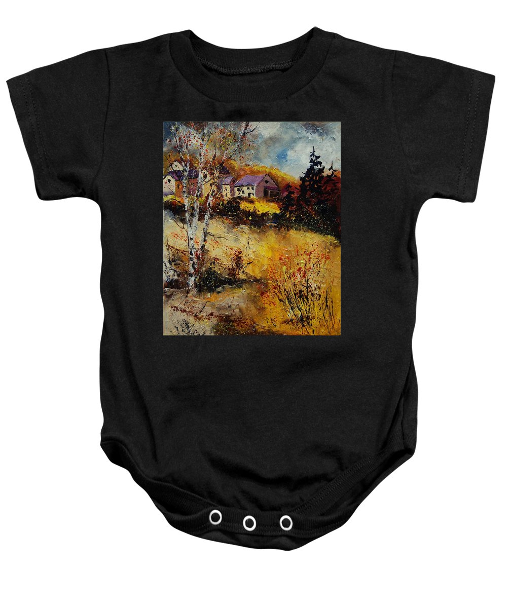 Landscape Baby Onesie featuring the painting Autumn 569021 by Pol Ledent
