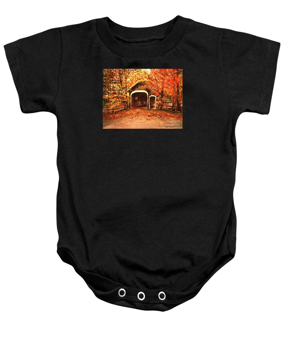 Autumn Baby Onesie featuring the painting Autumn Bike Ride by Patricia L Davidson