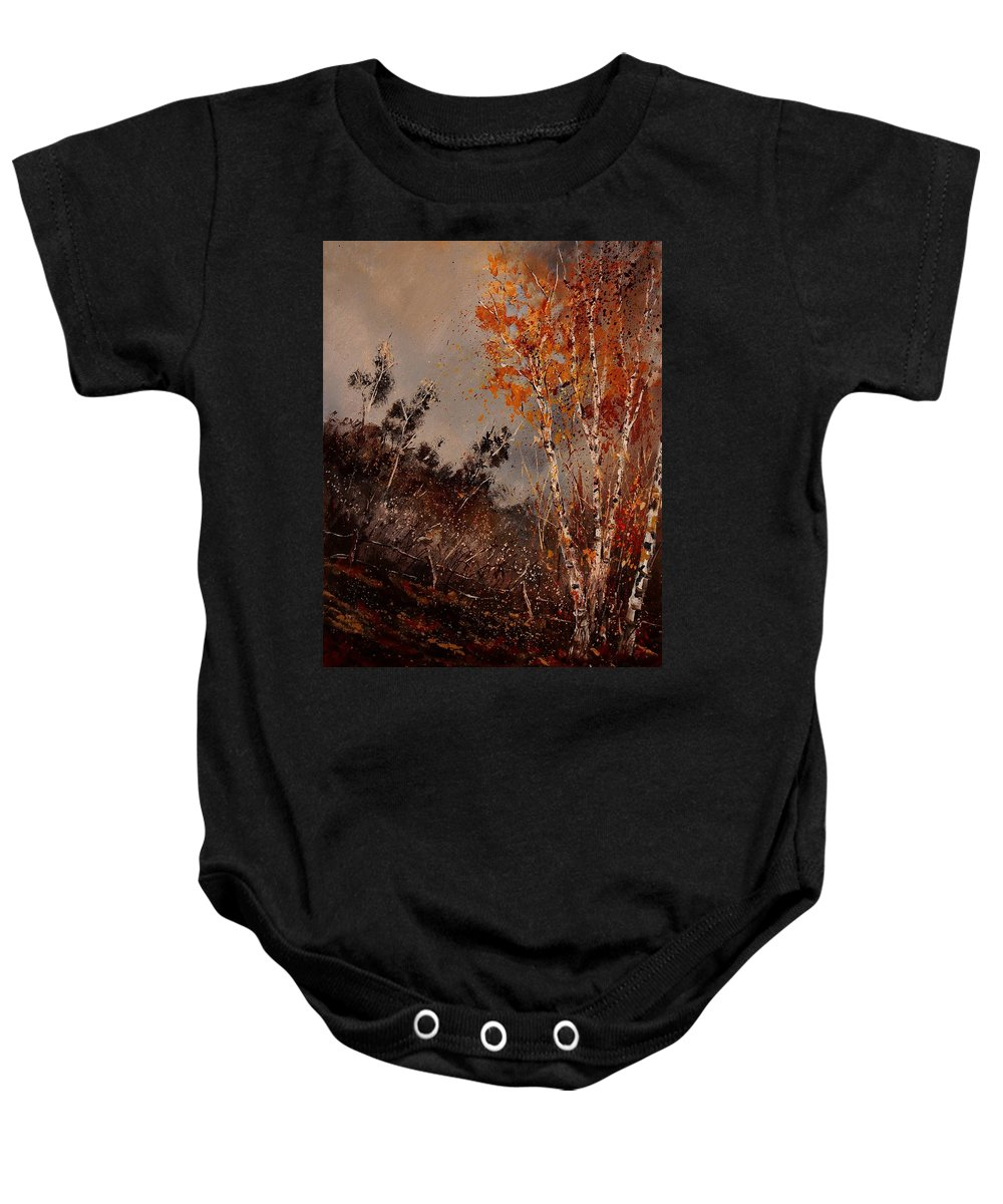 Tree Baby Onesie featuring the painting Autumn Birches by Pol Ledent