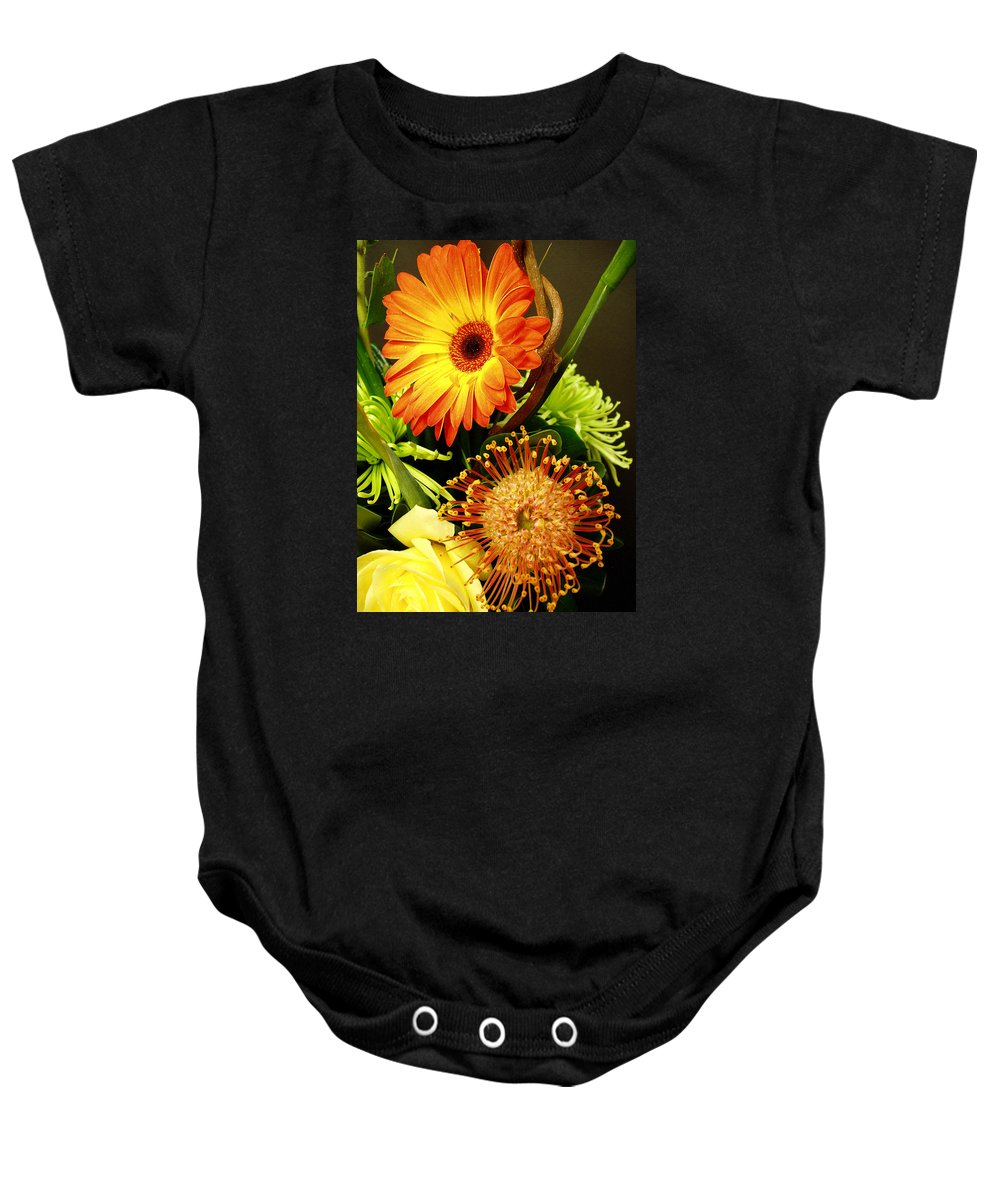 Autumn Baby Onesie featuring the photograph Autumn Flower Arrangement by Nancy Mueller