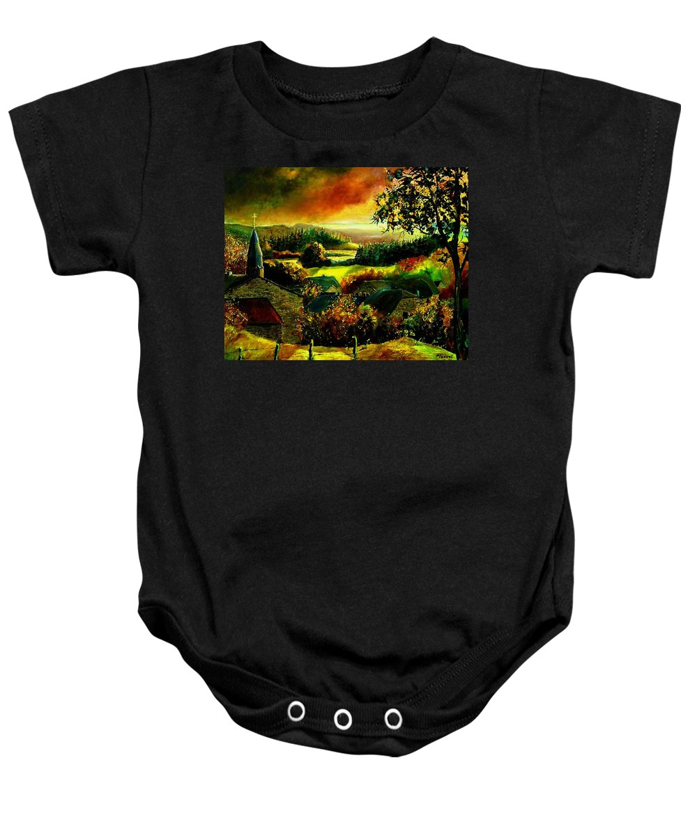 Landscape Baby Onesie featuring the painting Autumn In Our Village Ardennes by Pol Ledent
