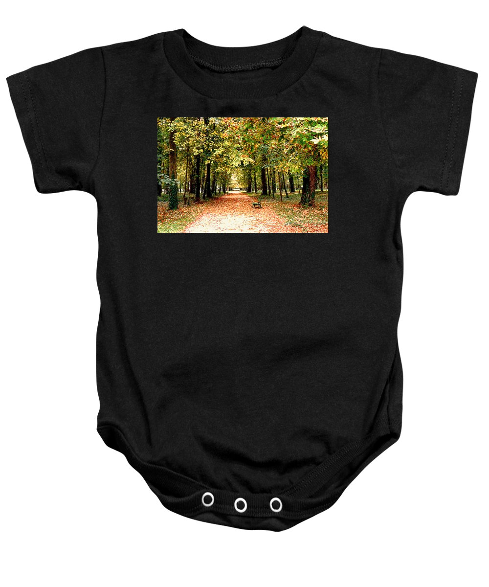 Autumn Baby Onesie featuring the photograph Autumn In The Park by Nancy Mueller