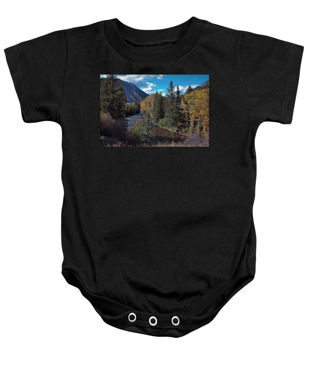 America Baby Onesie featuring the photograph Autumn In The Rockies by Joan Carroll