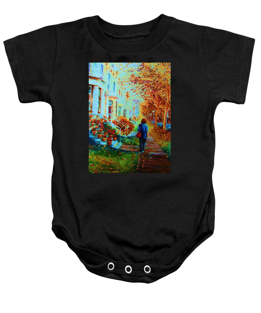 Montreal Baby Onesie featuring the painting Autumn In Westmount by Carole Spandau