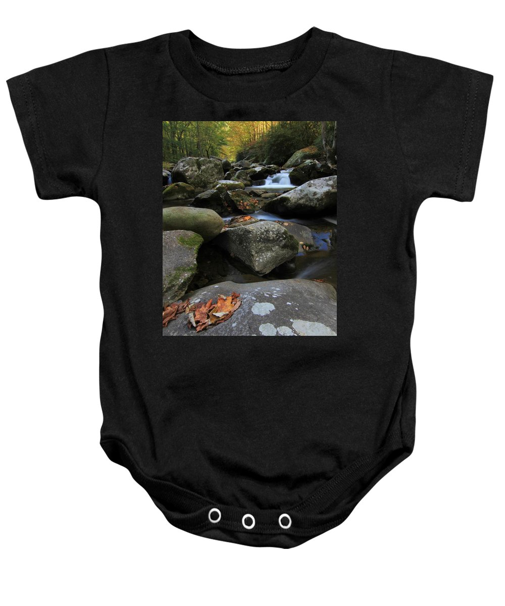 Autumn On The Little River In The Smoky Mountains Baby Onesie featuring the photograph Autumn On Little River In The Smoky Mountains by Dan Sproul