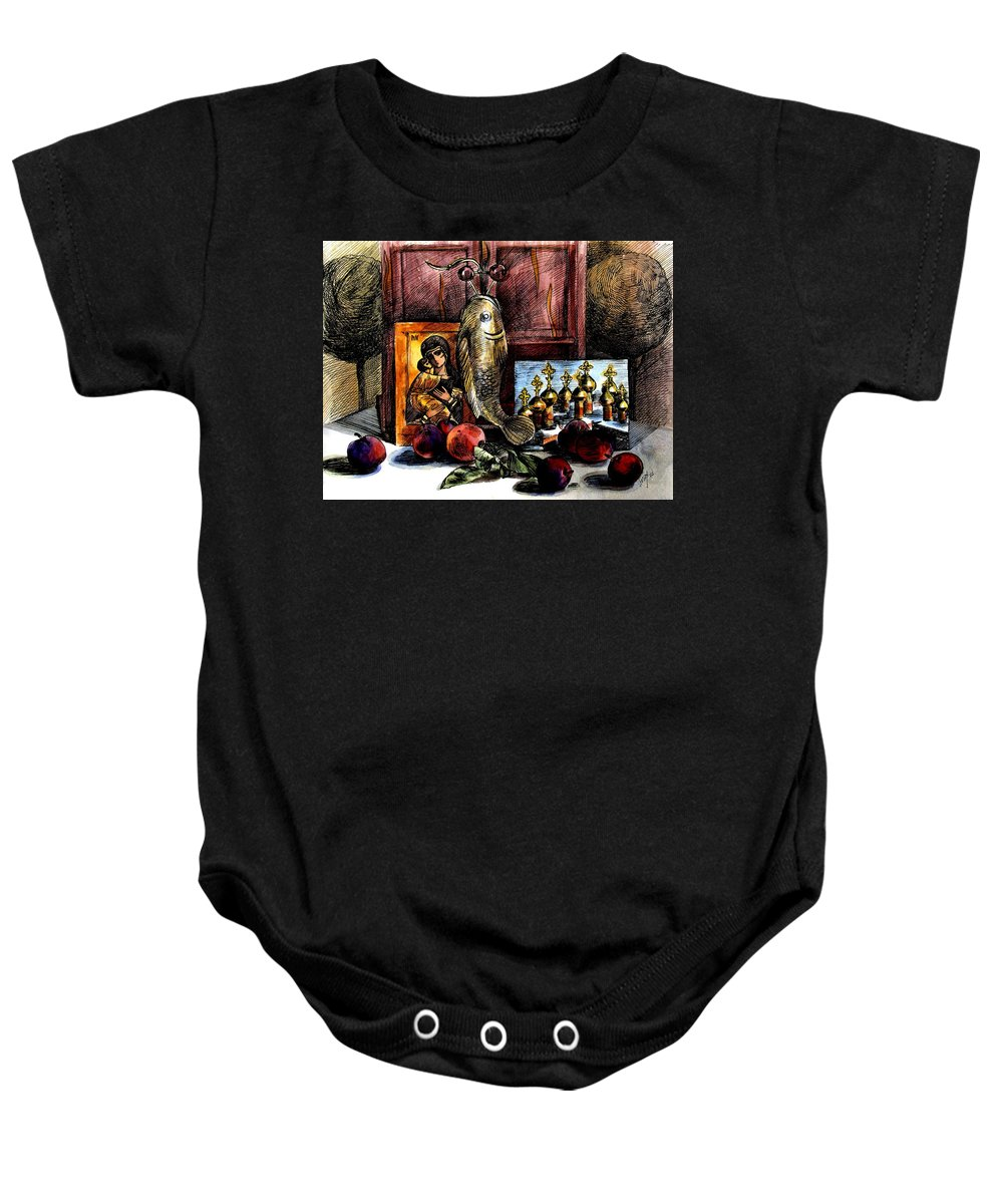Madonna Baby Onesie featuring the painting Autumn Prayer by Inga Vereshchagina