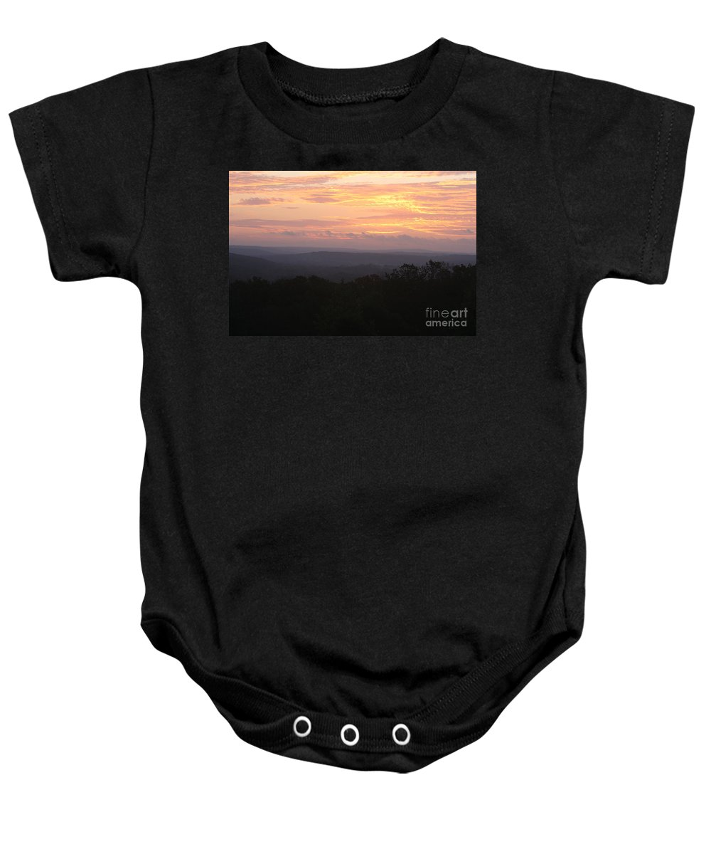 Sunrise Baby Onesie featuring the photograph Autumn Sunrise over the Ozarks by Nadine Rippelmeyer