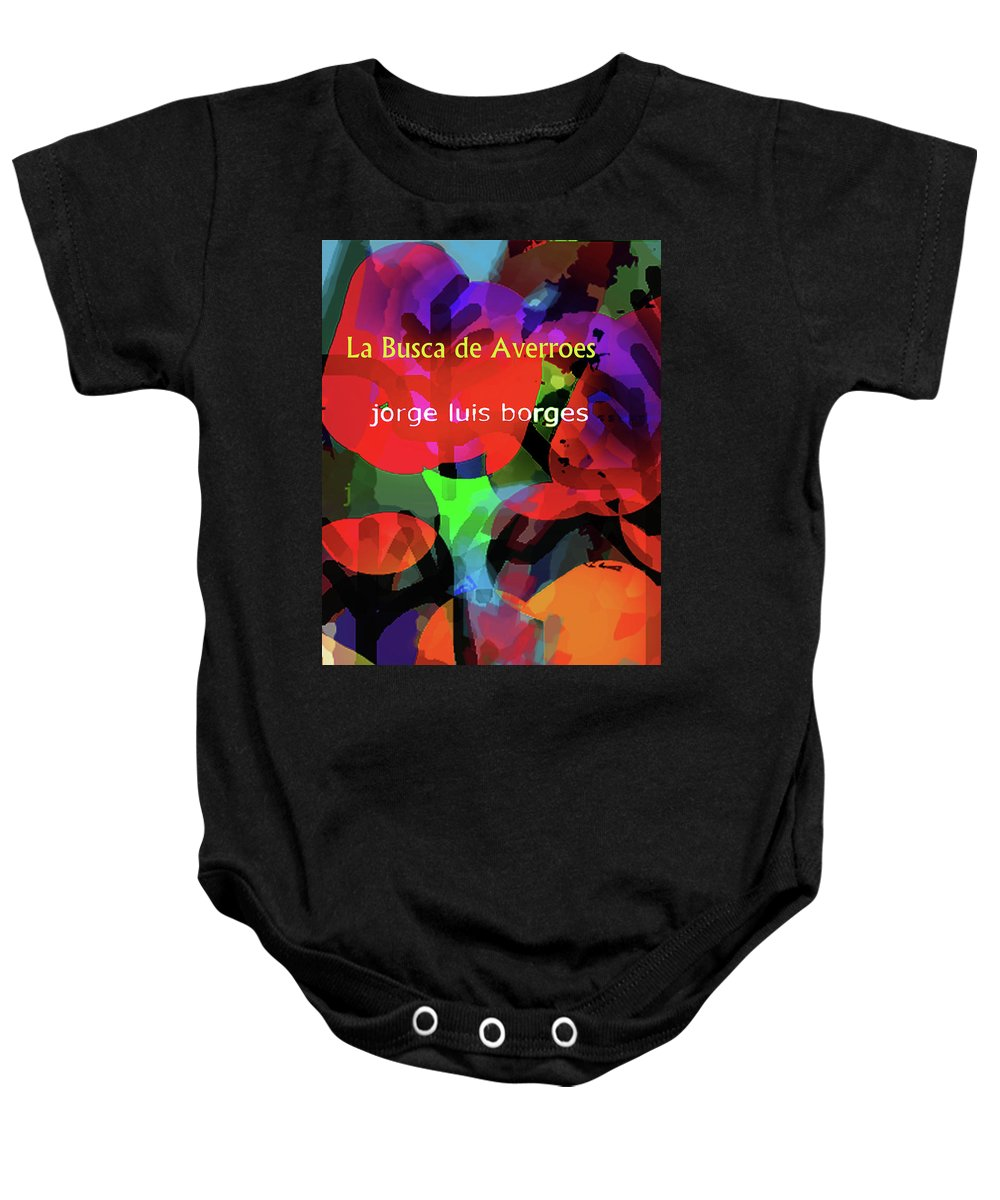 Jorge Luis Borges Baby Onesie featuring the drawing Averroes's Search Borges Poster by Paul Sutcliffe