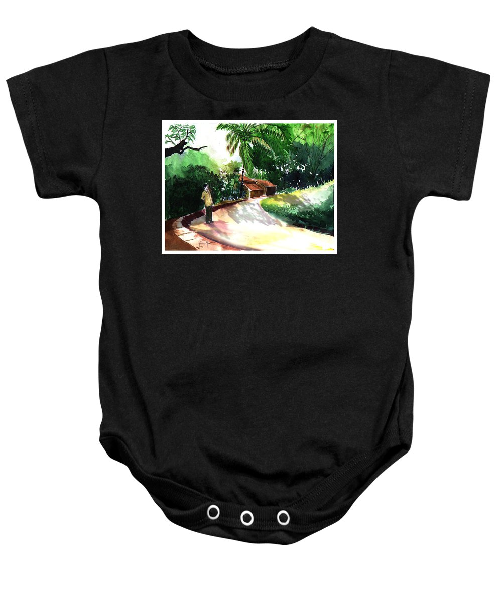 Water Color Watercolor Landscape Greenery Baby Onesie featuring the painting Awe by Anil Nene