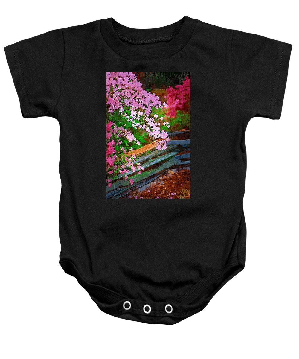 Flowers Baby Onesie featuring the photograph Azaleas Over The Fence by Donna Bentley