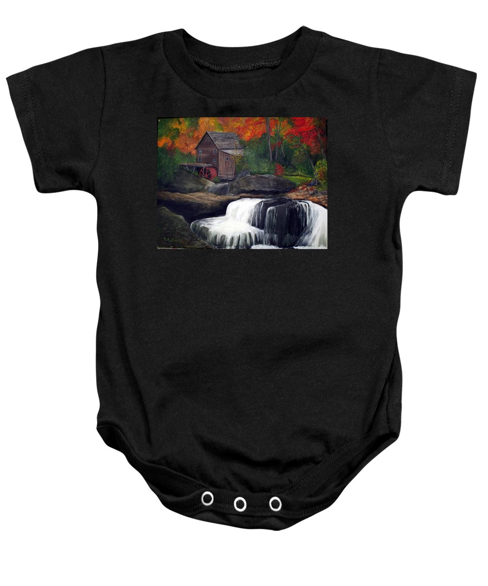 Grist Mill Baby Onesie featuring the painting Babcock Mill by Timothy Smith