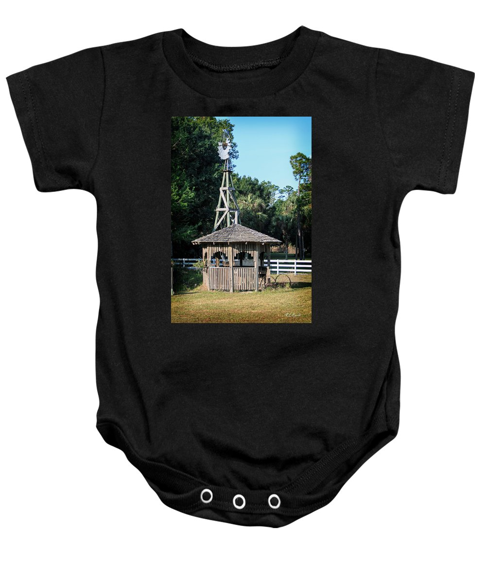 Florida Baby Onesie featuring the photograph Babcock Wilderness Ranch - Windmill by Ronald Reid