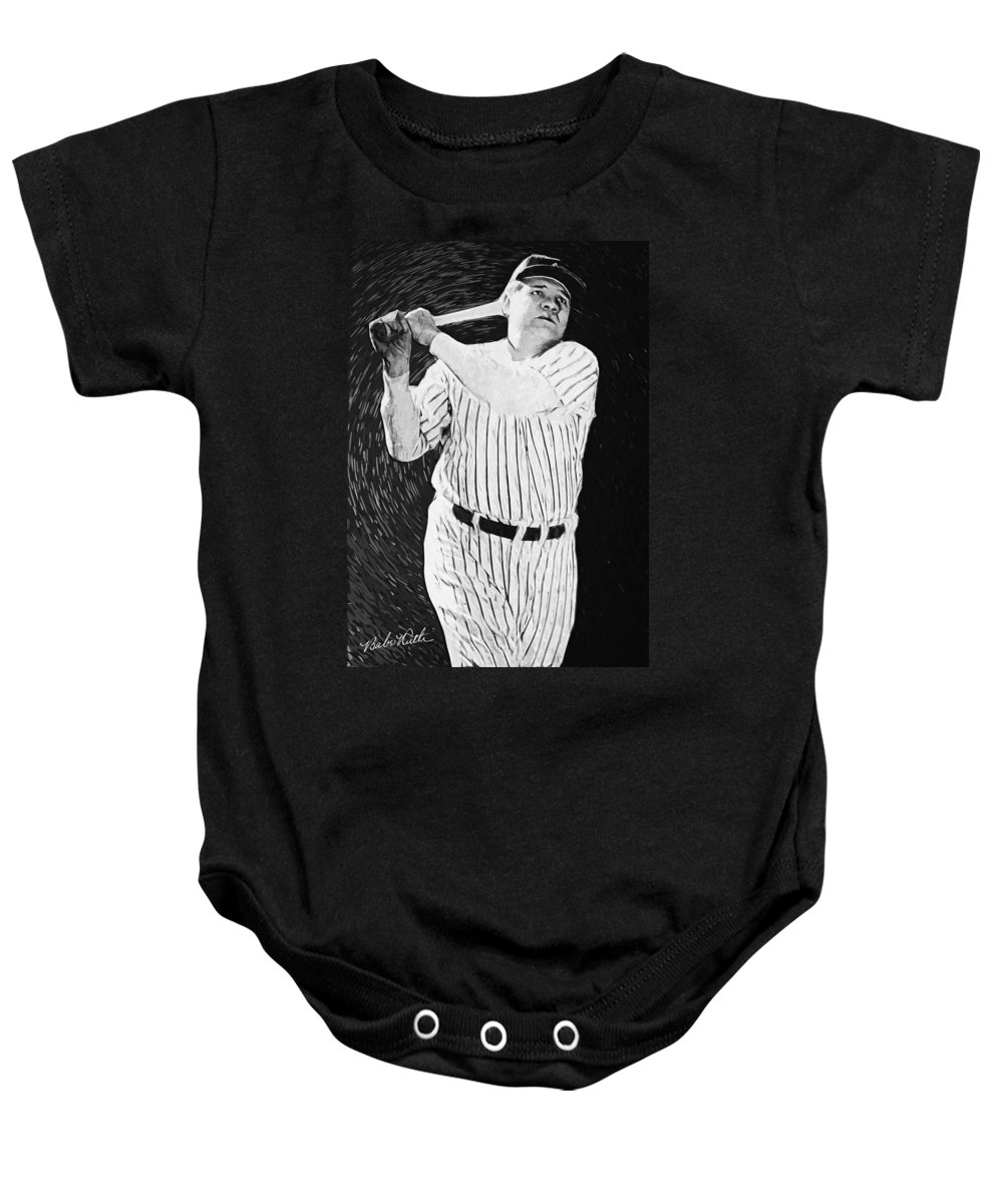 Babe Ruth Baby Onesie featuring the digital art Babe Ruth by Zapista