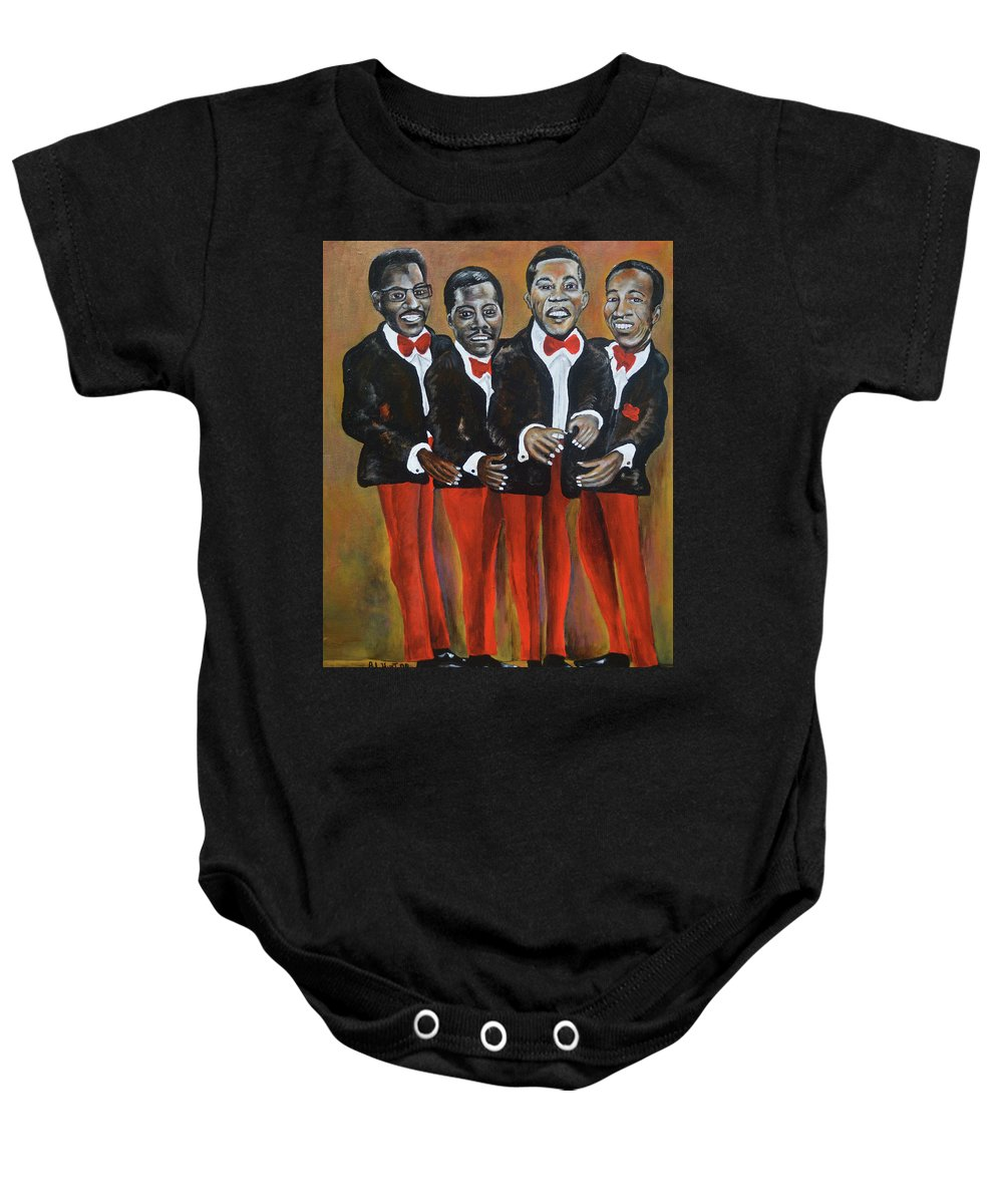 Singers Group Baby Onesie featuring the painting Baby , Baby by Anthony Hurt