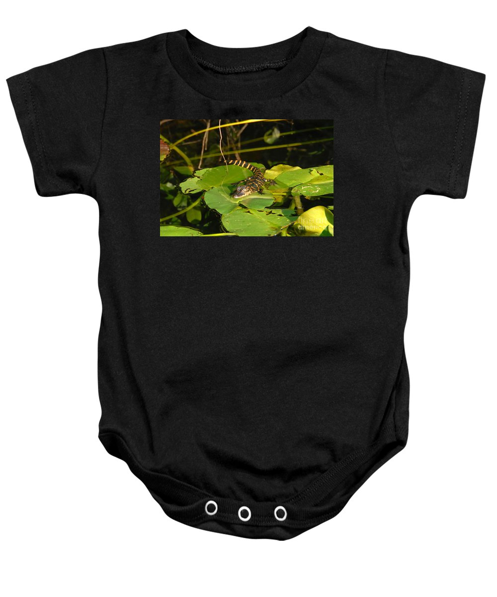 Baby Baby Onesie featuring the photograph Baby Alligator by David Lee Thompson