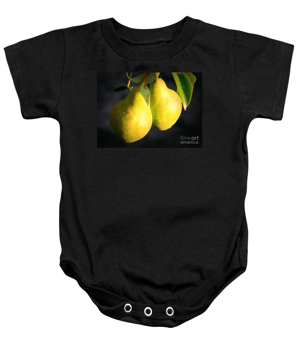 Food Baby Onesie featuring the photograph Backyard Garden Series - Two Pears by Carol Groenen