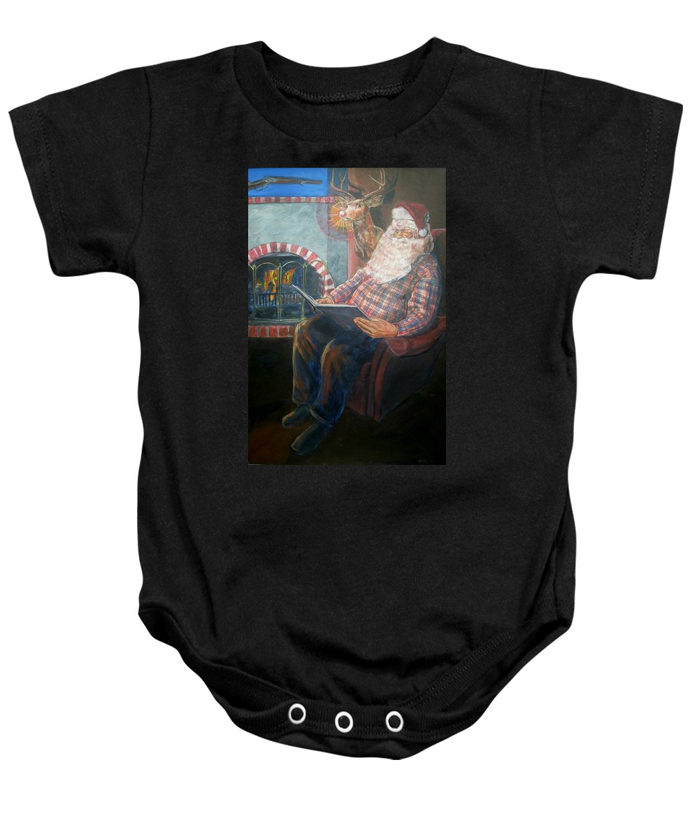 Christmas Baby Onesie featuring the painting Bad Rudolph by Bryan Bustard