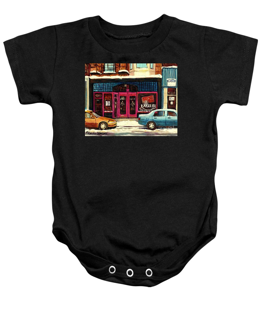 Bagels Etc.montreal Baby Onesie featuring the painting Bagels Etc Montreal by Carole Spandau