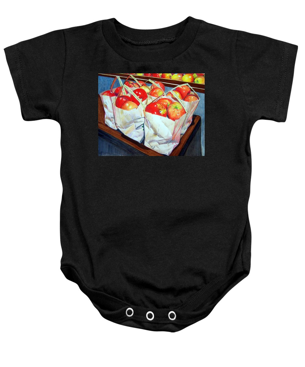 Apples Baby Onesie featuring the mixed media Bags of Apples by Constance Drescher