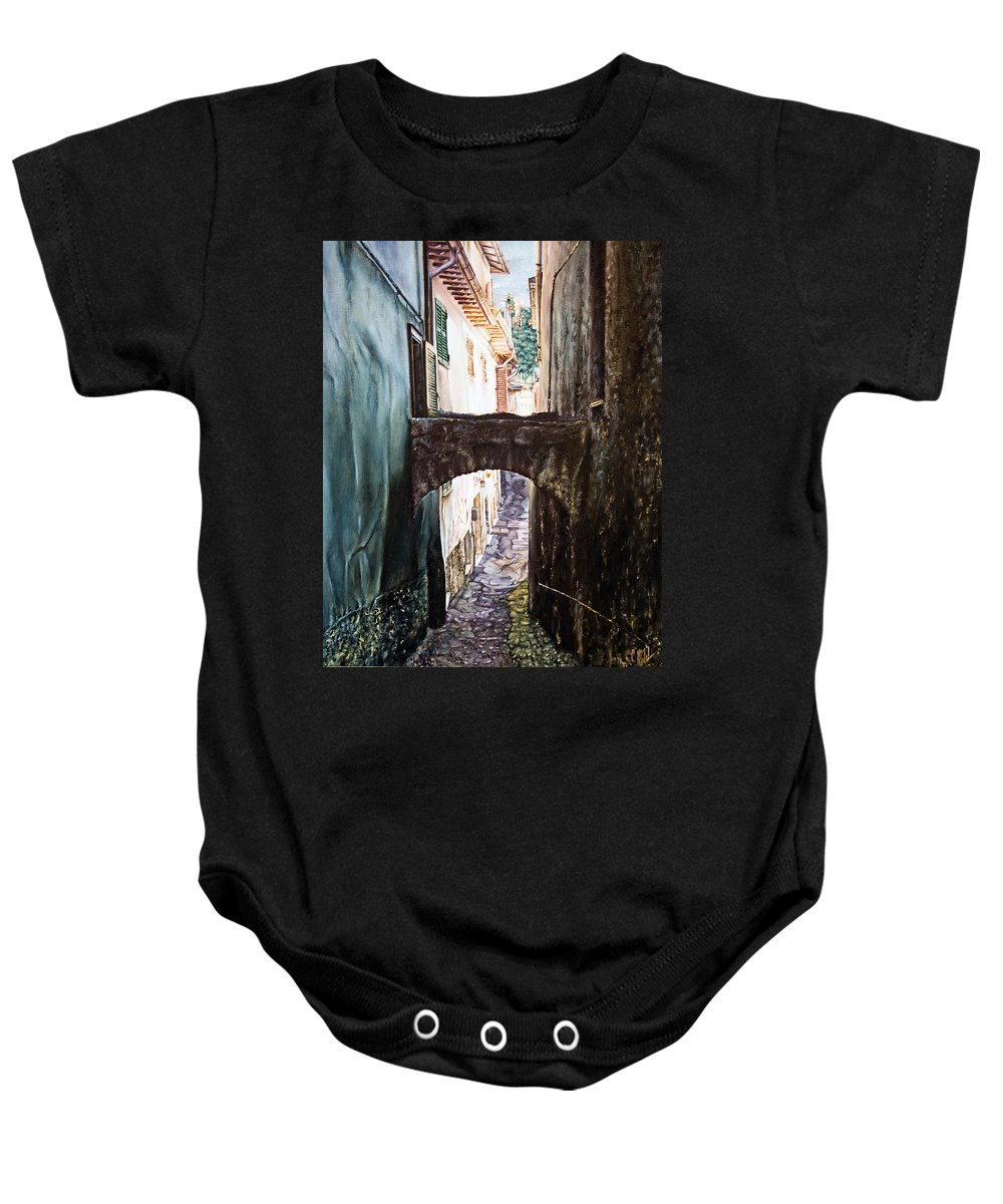 Architectural Baby Onesie featuring the painting Balcony On The Arch by Michel Angelo Rossi