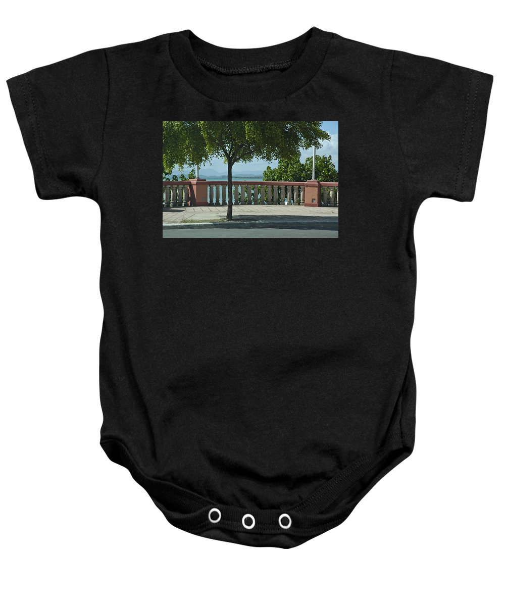 Landscape Baby Onesie featuring the photograph Balcony On The Beach In Naguabo Puerto Rico by Tito Santiago