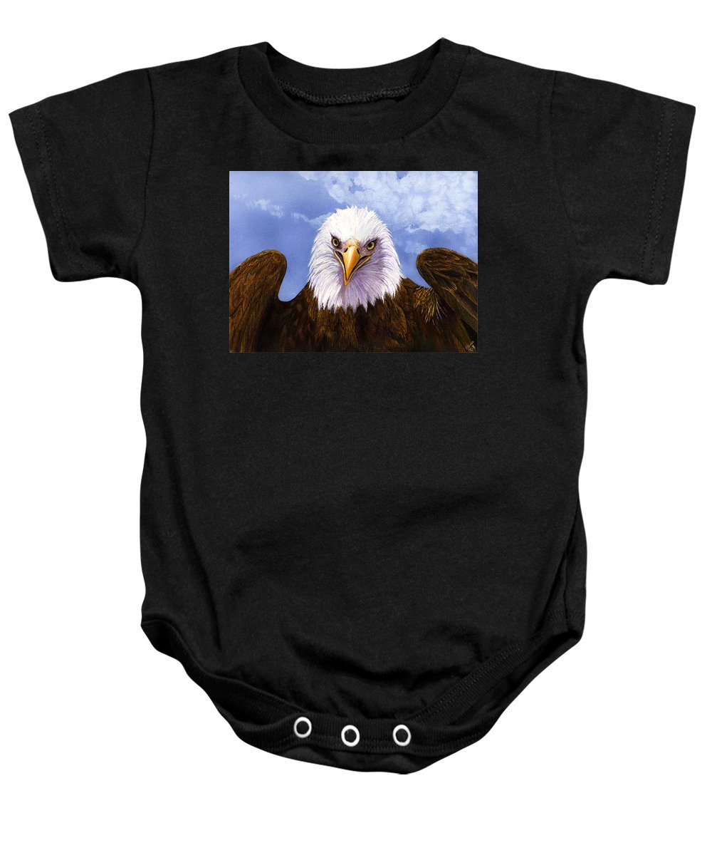 Eagle Baby Onesie featuring the painting Bald Eagle by Catherine G McElroy
