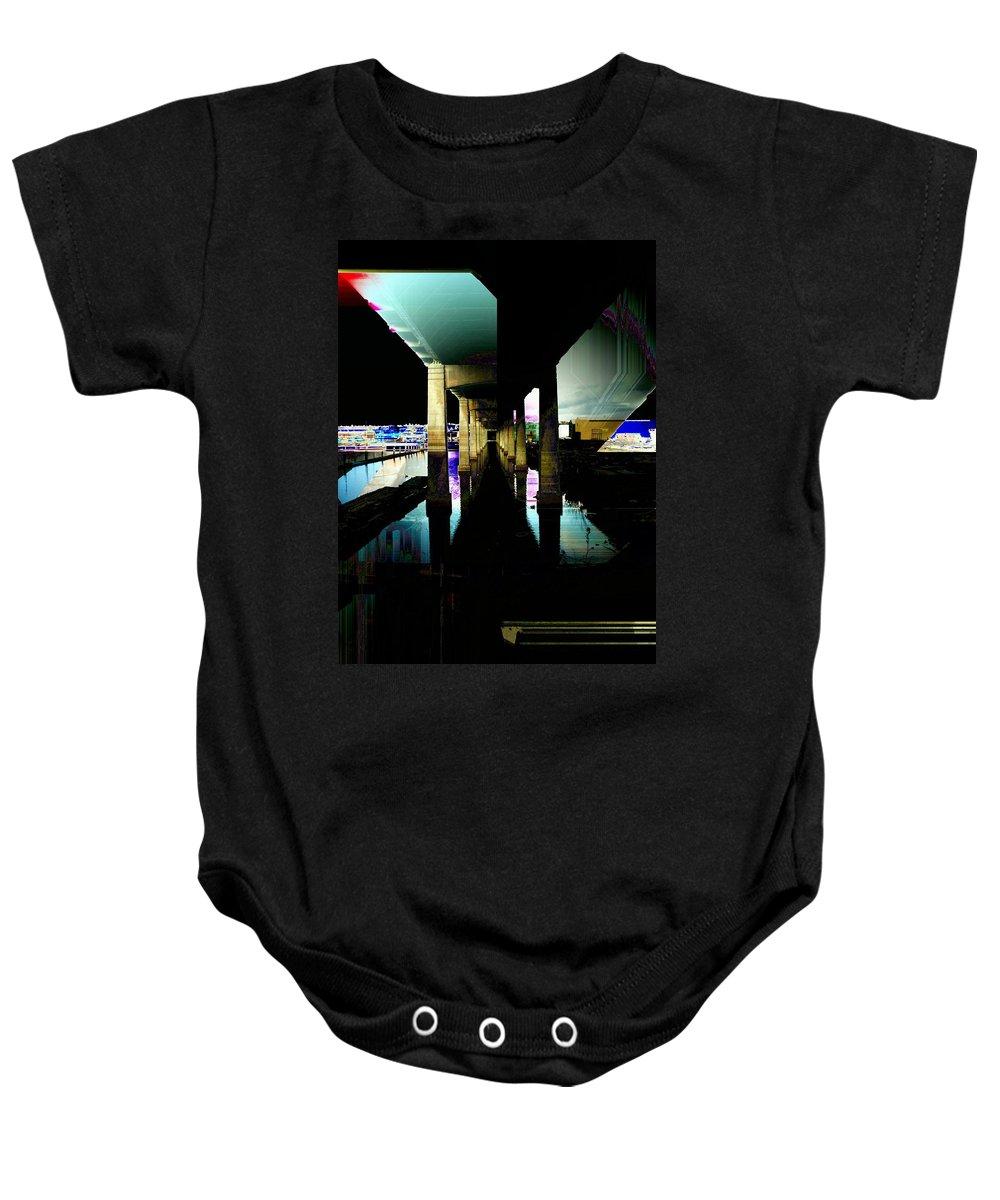 Seattle Baby Onesie featuring the digital art Ballard Bridge by Tim Allen