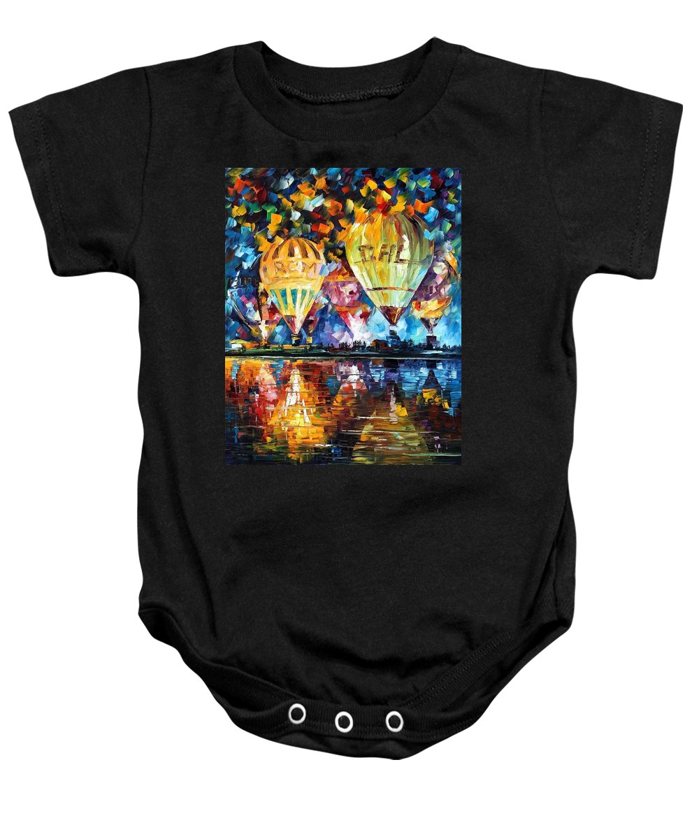 Afremov Baby Onesie featuring the painting Balloon Festival by Leonid Afremov