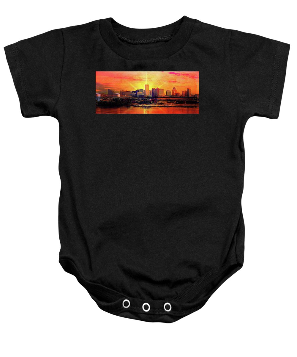 Baltimore Horizon Baby Onesie featuring the mixed media Baltimore Horizon by Ced Dembeckl