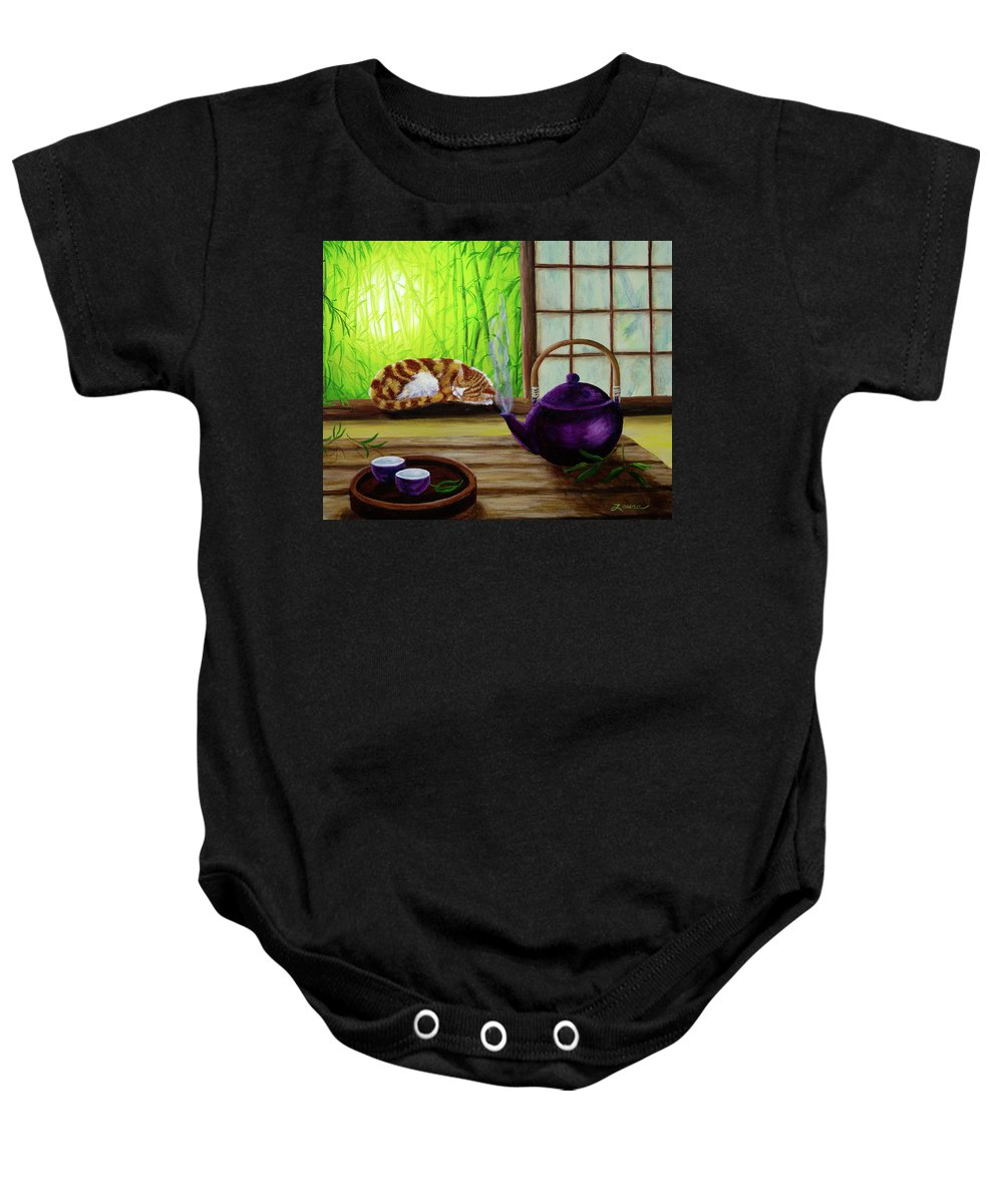 Teapot Baby Onesie featuring the painting Bamboo Morning Tea by Laura Iverson