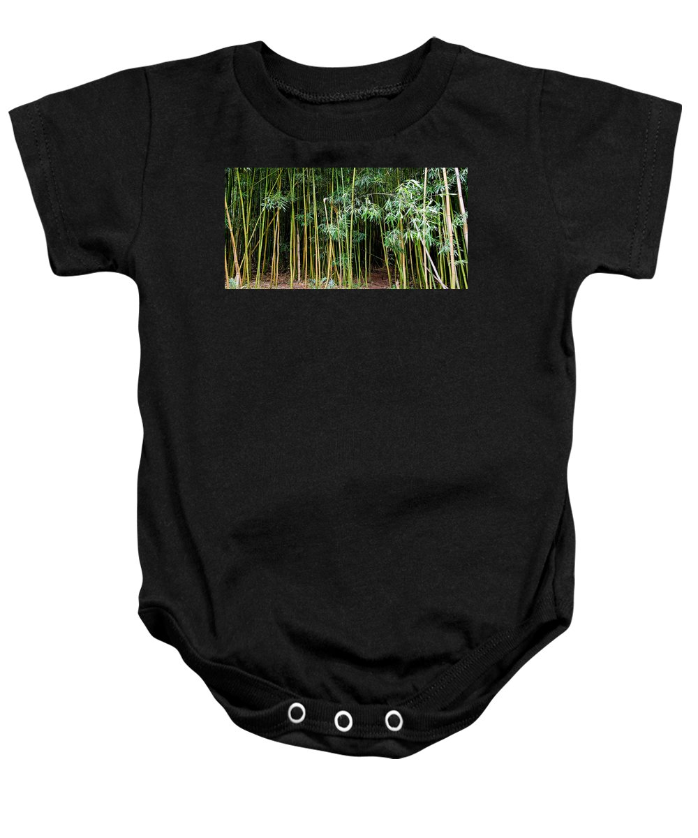 Bamboo Wind Chimes Baby Onesie featuring the photograph Bamboo Wind Chimes Waimoku Falls Trail Hana Maui Hawaii by Michael Bessler