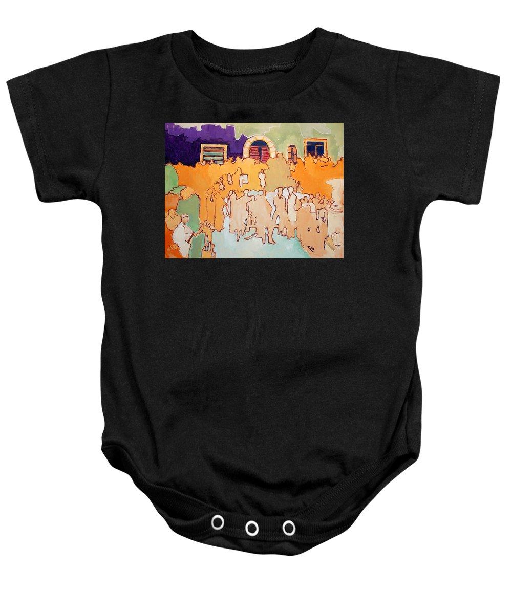 Band Baby Onesie featuring the painting Banda Di Villaggio by Kurt Hausmann