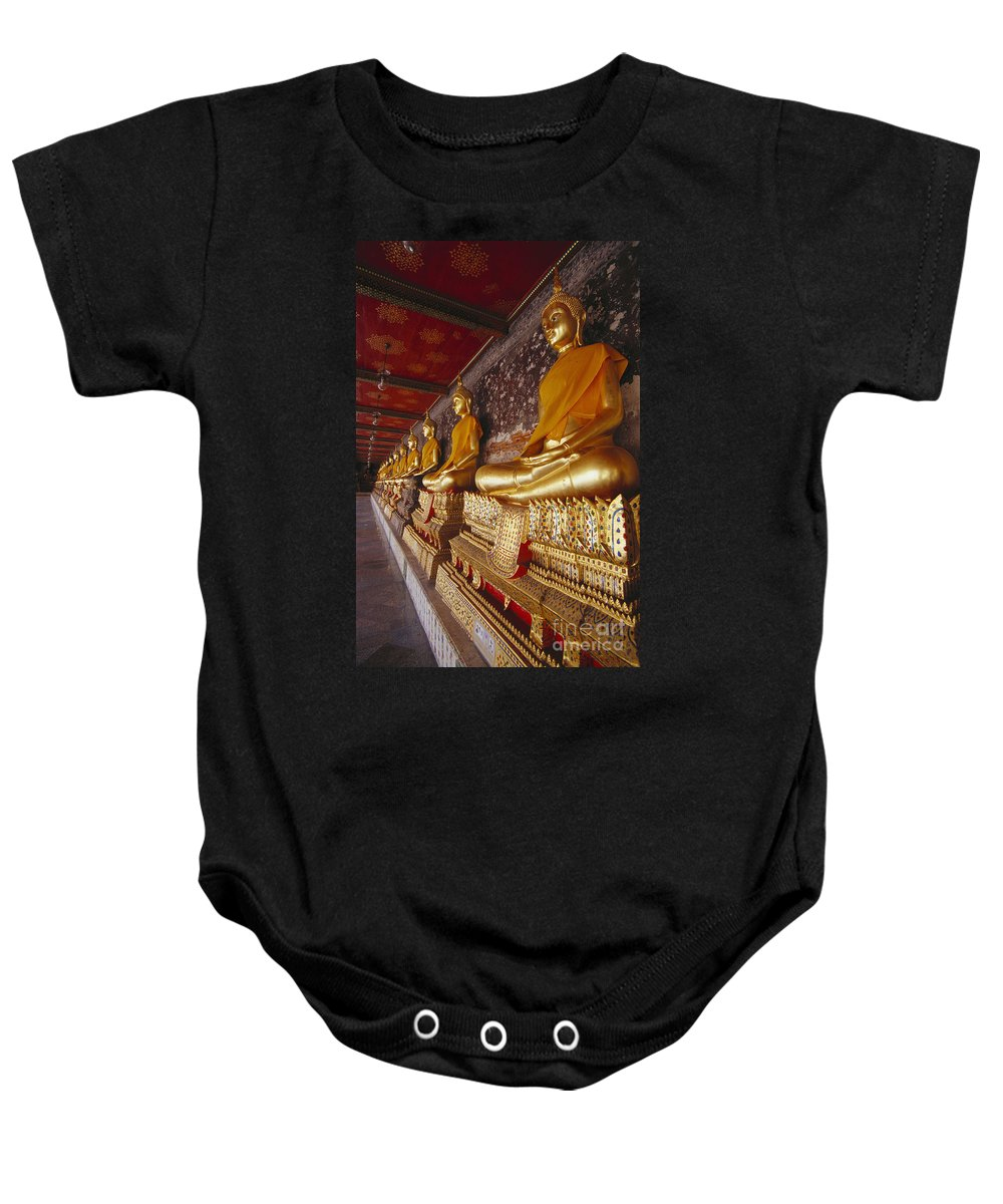 Ancestor Baby Onesie featuring the photograph Bangkok, Wat Suthat by Bill Brennan - Printscapes